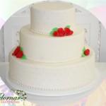Locação de Bolo Cenográfico Casamento Noivado Vermelho e Branco
