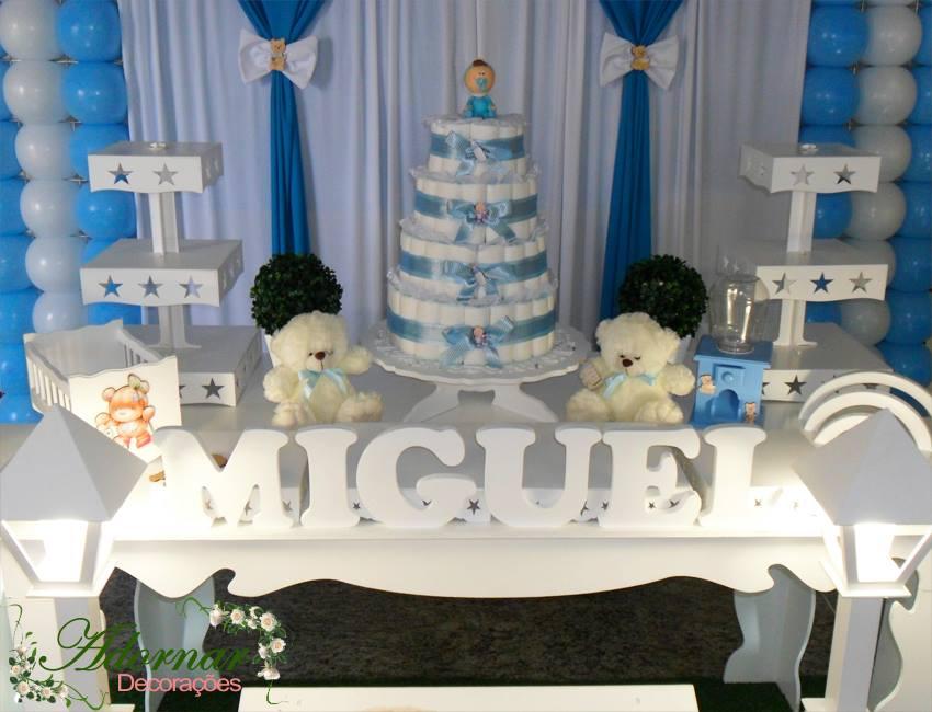 Aluguel Decoração Chá de Bebê Tema Menino Azul e Branco