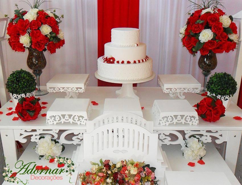 Decora??o Casamento Noivado Vermelho e Branco Mesa Bolo # decoracao ...