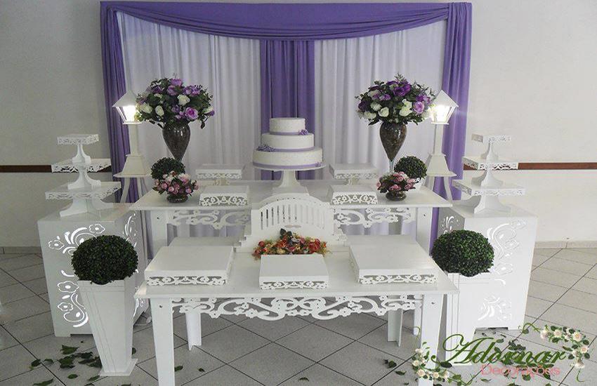 decoracao moveis branco:Aluguel Decoração Casamento Noivado Lilás e Branco