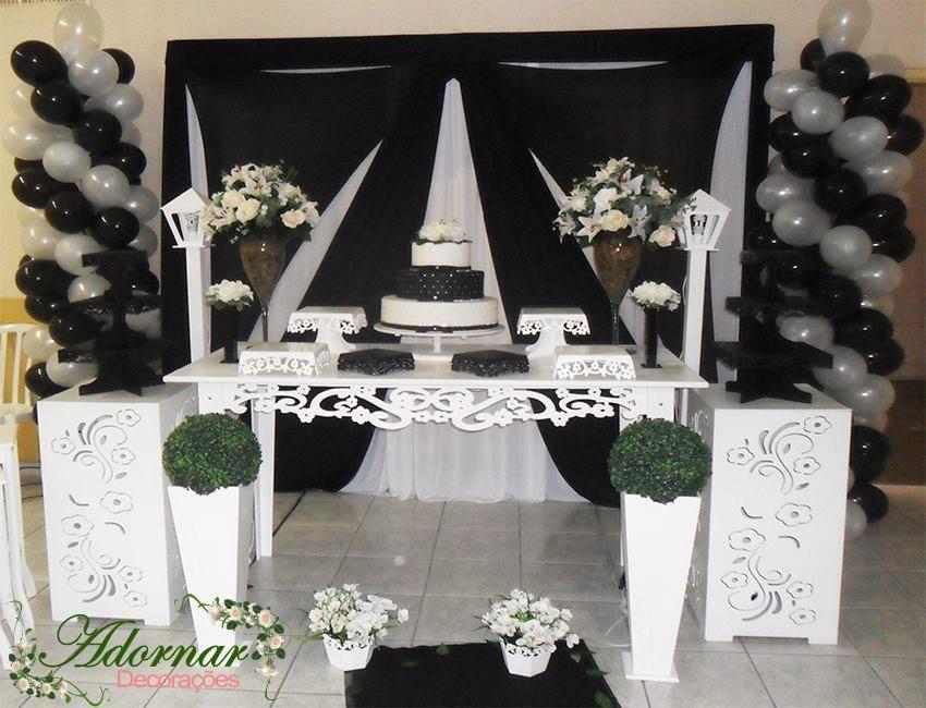 decoracao moveis branco:Aluguel Decoração Casamento Noivado Preto e Branco