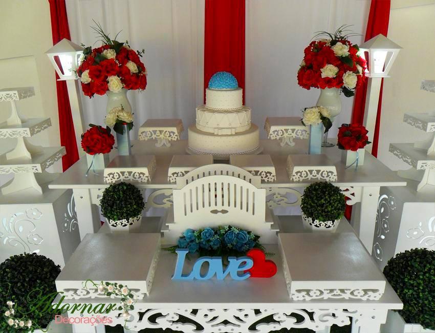 Aluguel Decoração Casamento e Noivado Vermelho Com Detalhe Azul