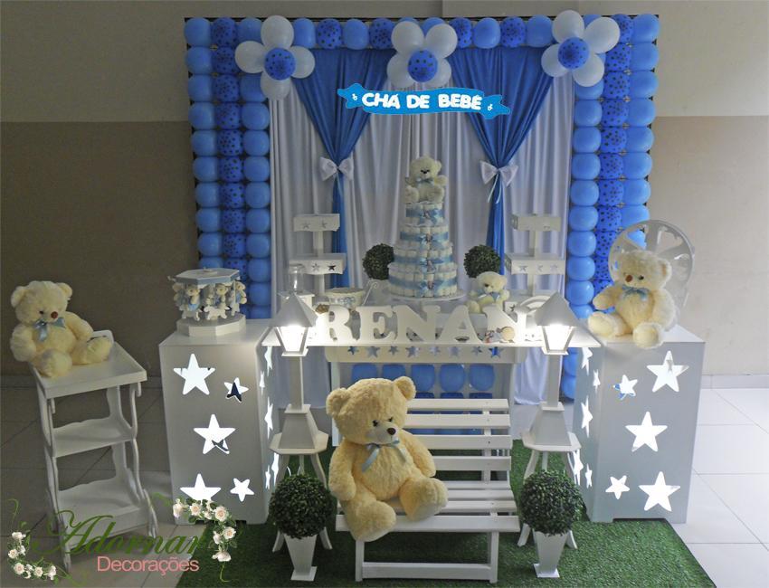 Aluguel Decoração Chá de Bebê Tema Menino Azul e Marrom