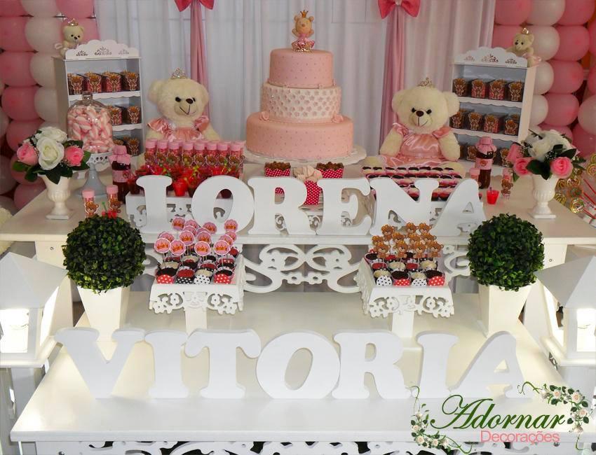 Aluguel Decoração Ursa Princesa Para Festa Infantil Rosa e Branco