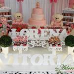 Aluguel Decoração Ursa Princesa Festa Infantil Rosa e Branco