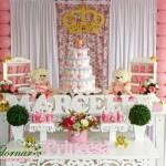 Aluguel Decoração Chá de Bebê Tema Princesa Ursa Rosa e Branco