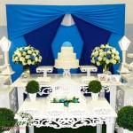Aluguel Decoração Para Festa de 15 Anos Azul Claro e Azul Escuro