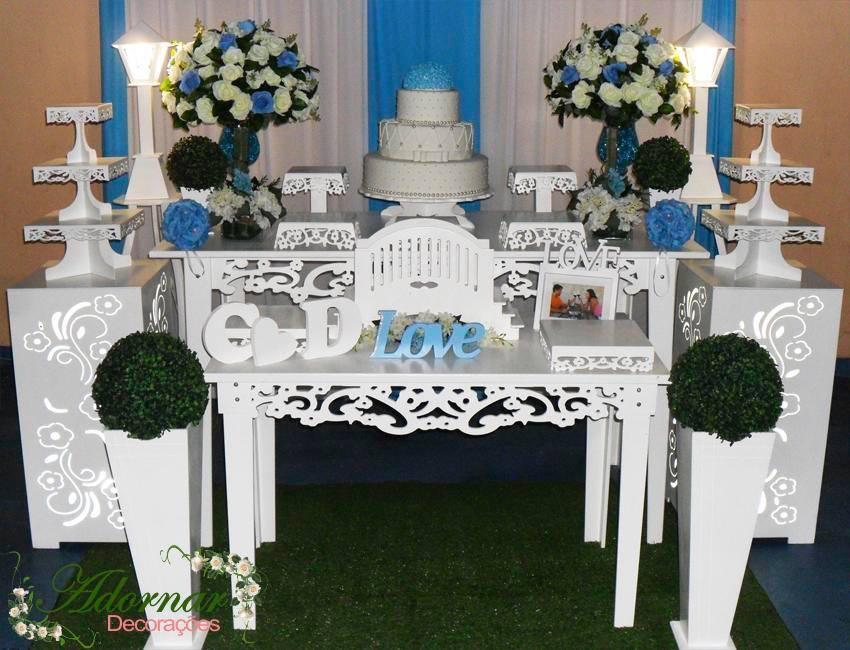 aluguel decoração casamento e noivado azul turquesa e branco
