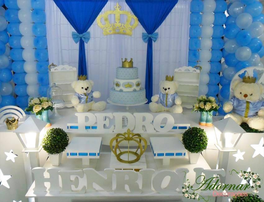 Aluguel Decoração Urso Príncipe Festa Infantil Azul e Branco
