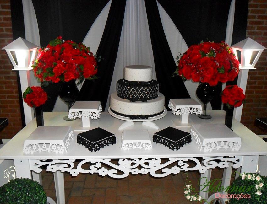 Aluguel Decoração Casamento Noivado Preto e Vermelho