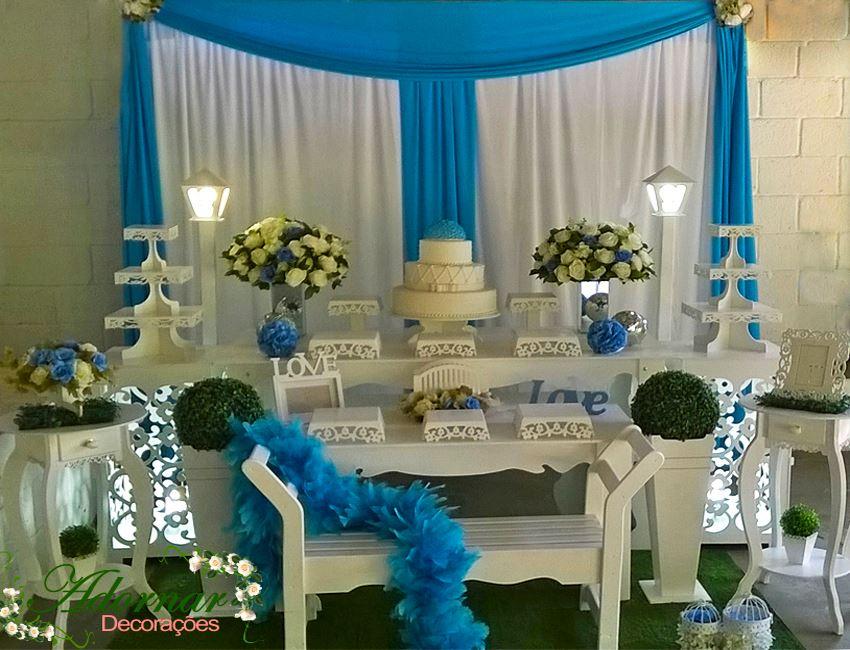 Aluguel Decoração Para Festa de 15 Anos Azul e Branco