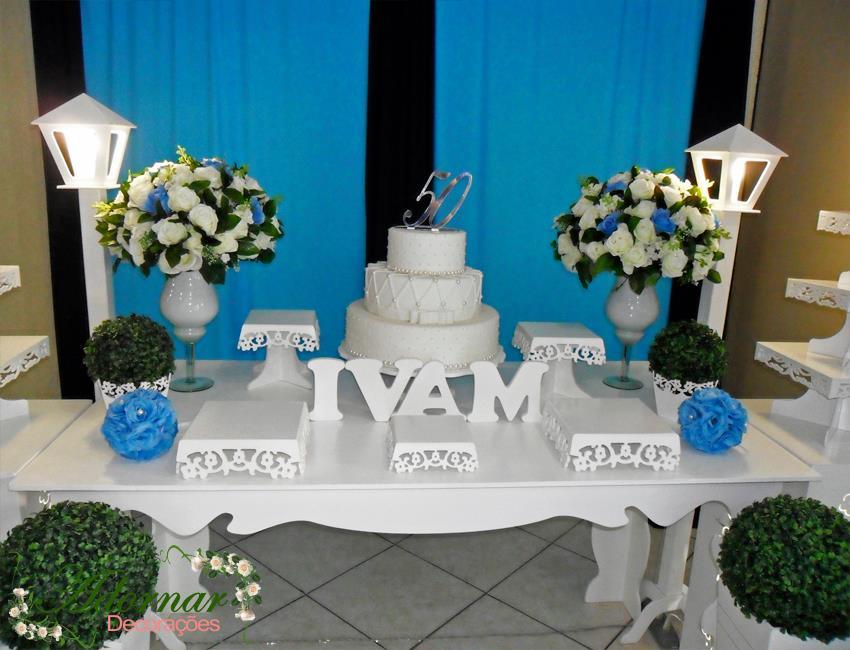 Aluguel Decoração Para Festa de 50 Anos Azul Marinho e Azul Claro