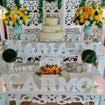 Aluguel Decoração Aniversários Adultos Amarelo e Branco