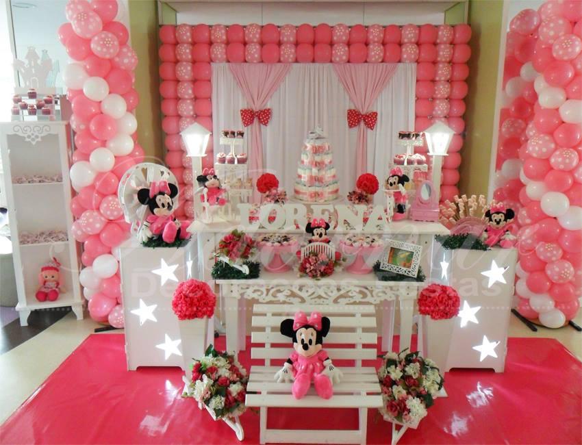 Aluguel Decoração Chá de Bebê Minnie Mouse Rosa